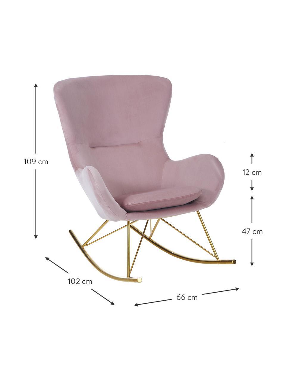 Samt-Schaukelstuhl Wing in Rosa mit Metall-Füßen, Bezug: Samt (Polyester) Der Bezu, Gestell: Metall, galvanisiert, Samt Rosa, Goldfarben, B 76 x T 108 cm