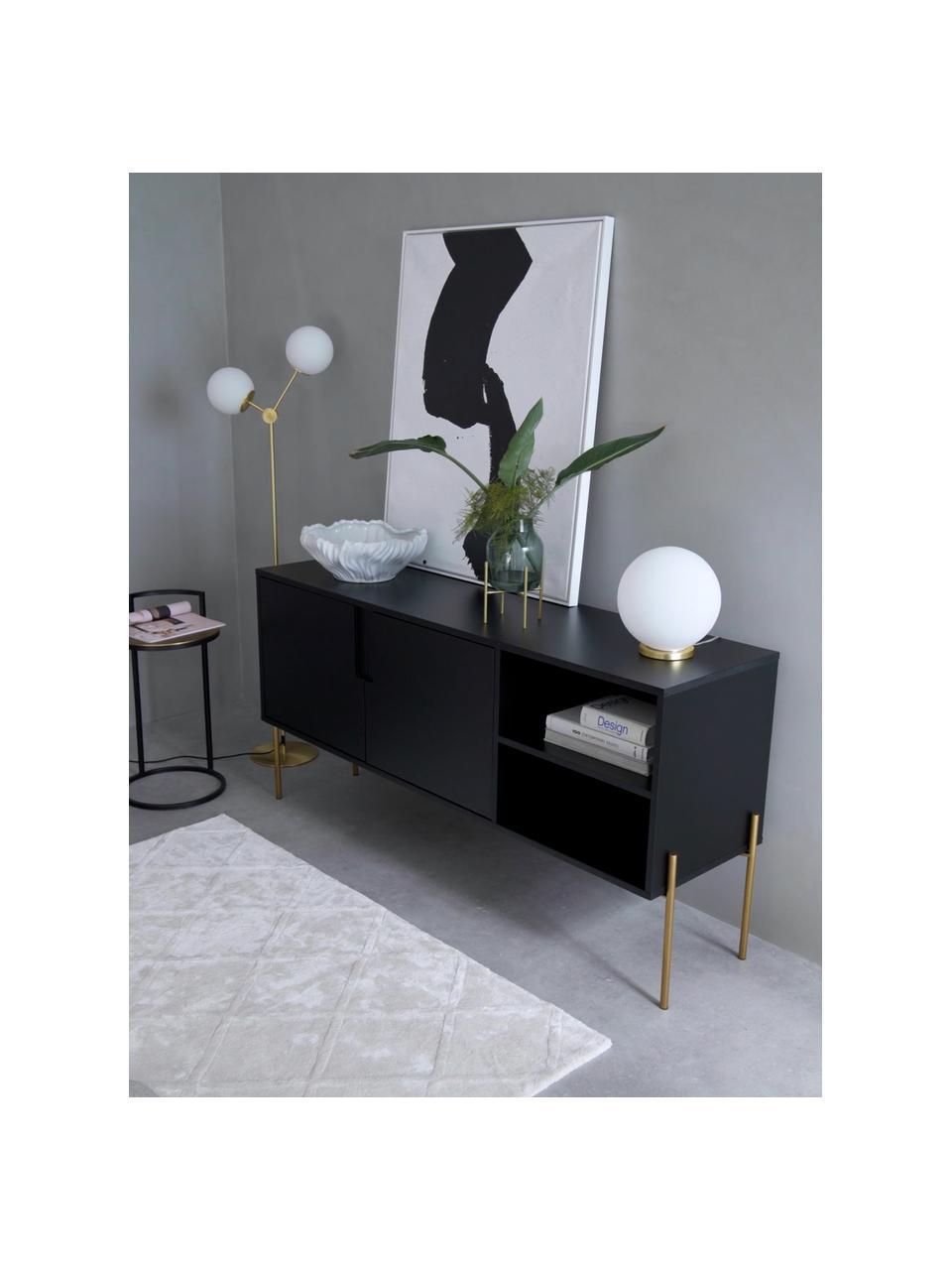 Sideboard Jesper mit Türen in Schwarz, Korpus: Mitteldichte Holzfaserpla, Füße: Metall, lackiert, Korpus: Schwarz Füße: Goldfarben, glänzend, 160 x 80 cm