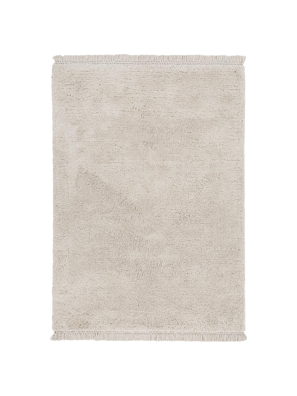 Zacht hoogpolig vloerkleed Dreamy met franjes, Bovenzijde: 100% polyester, Onderzijde: 100% katoen, Crèmekleurig, B 160 x L 230 cm (maat M)