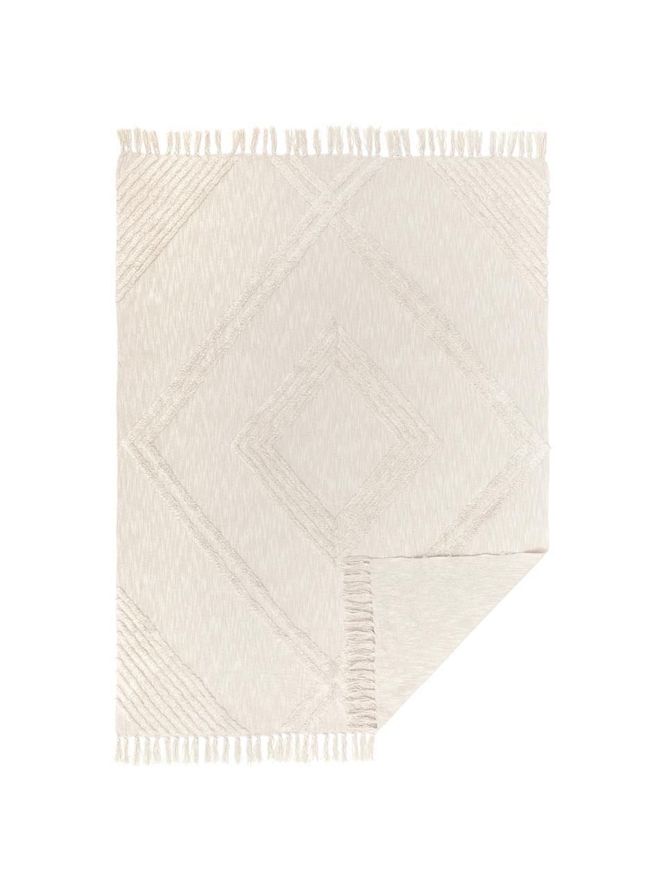 Koc z bawełny z tuftowaną dekoracją Opal, 100% bawełna, Ecru, S 130 x D 170 cm