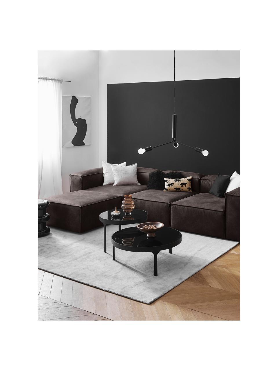 Canapé d'angle modulable en cuir recyclé brun-gris Lennon, Cuir brun-gris