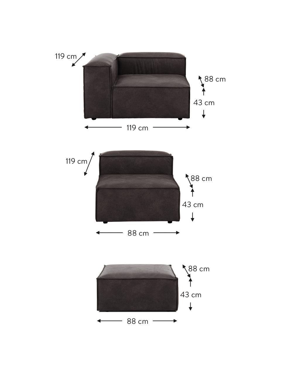 Modulares Sofa Lennon (4-Sitzer) mit Hocker in Braungrau aus recyceltem Leder, Bezug: Recyceltes Leder (70% Led, Gestell: Massives Kiefernholz, Spe, Füße: Kunststoff Die Füße befin, Leder Braungrau, B 327 x T 207 cm