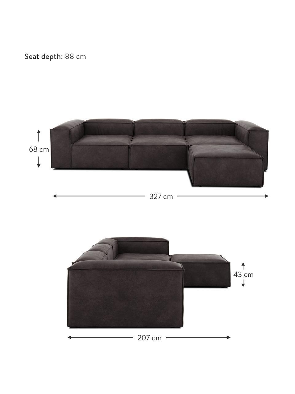 Sofa modułowa ze skóry z recyklingu z pufem Lennon (4-osobowa), Tapicerka: skóra pochodząca z recykl, Stelaż: lite drewno sosnowe, skle, Nogi: tworzywo sztuczne Nogi zn, Skórzany szarobrązowy, S 327 x G 207 cm