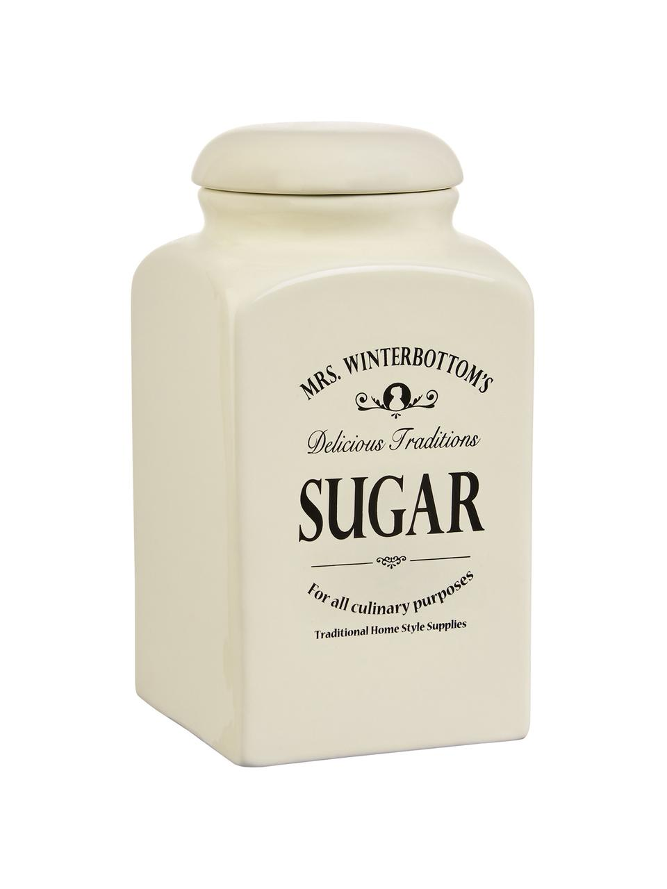 Aufbewahrungsdose Mrs Winterbottoms Sugar, Ø 11 x H 21 cm, Steingut, Creme, Schwarz, Ø 11 x H 21 cm