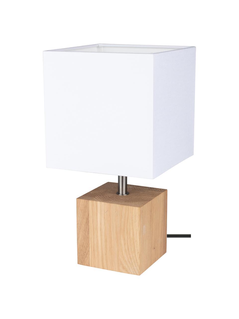 Kleine Tischlampe Trongo aus Eichenholz, Lampenschirm: Stoff, Lampenfuß: Eichenholz, geölt, Weiß, Hellbraun, 15 x 30 cm