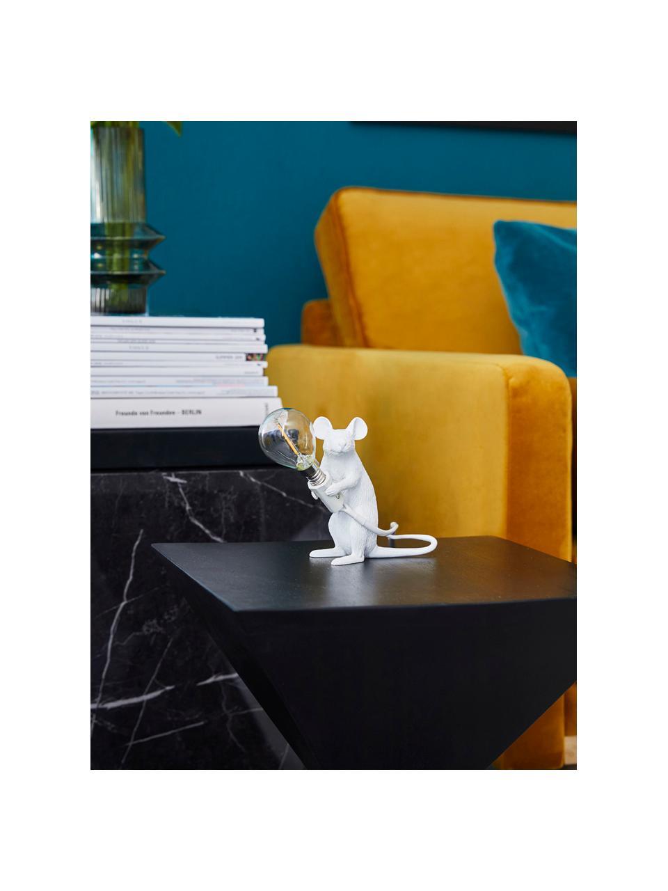 Lampada da tavolo a LED di design Mouse, Lampada: resina sintetica, Bianco, Larg. 5 x Alt. 13 cm
