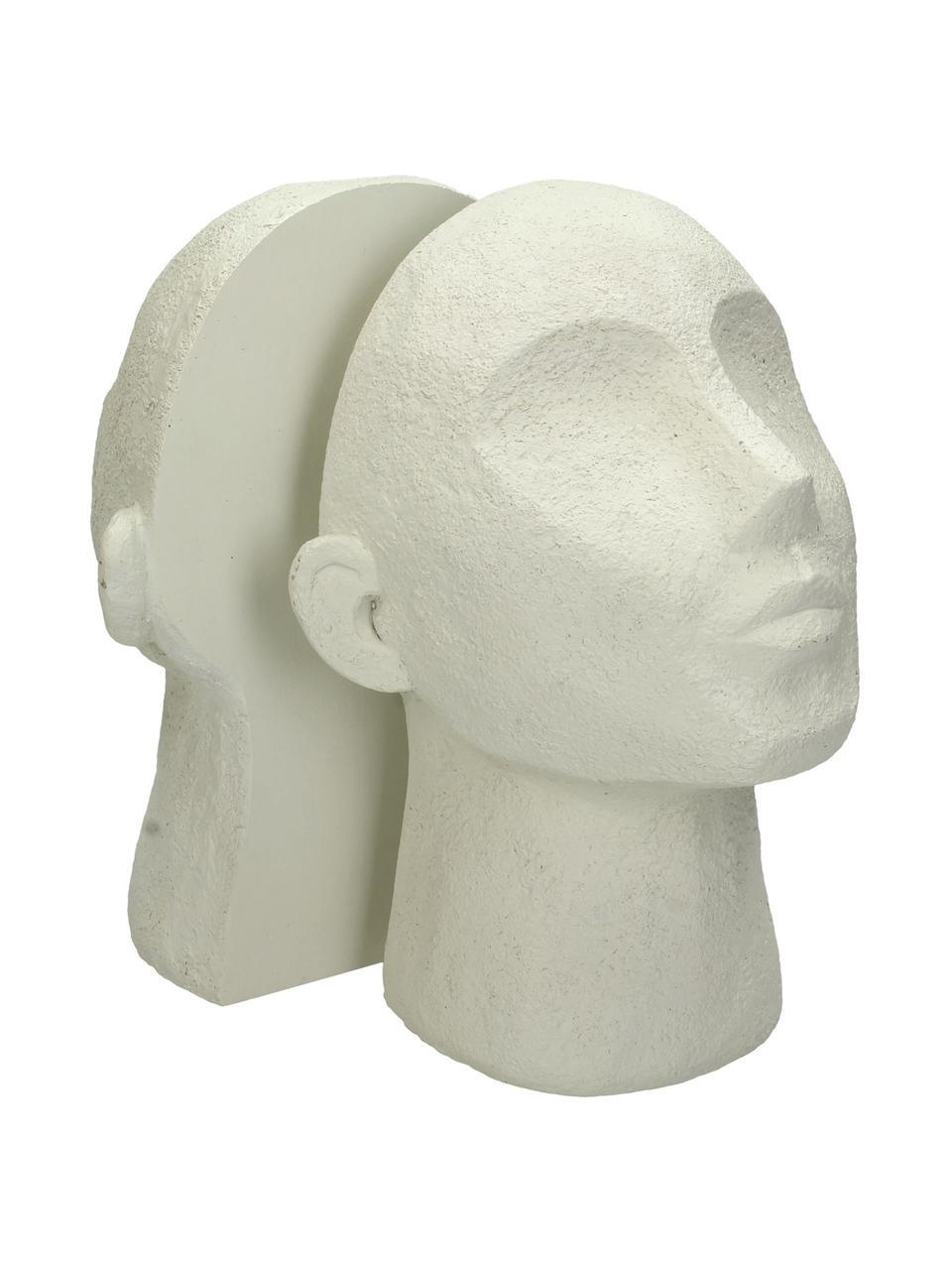 Buchstützen Head, 2 Stück, Polyresin, Gebrochenes Weiß, 23 x 32 cm