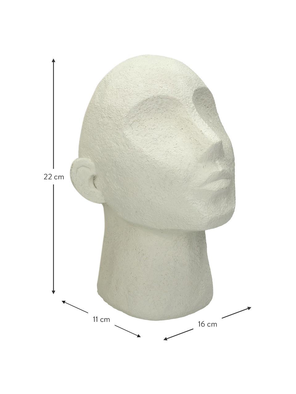 Fermalibri Head 2 pz, Poliresina, Bianco latteo, Larg. 16 x Alt. 22 cm