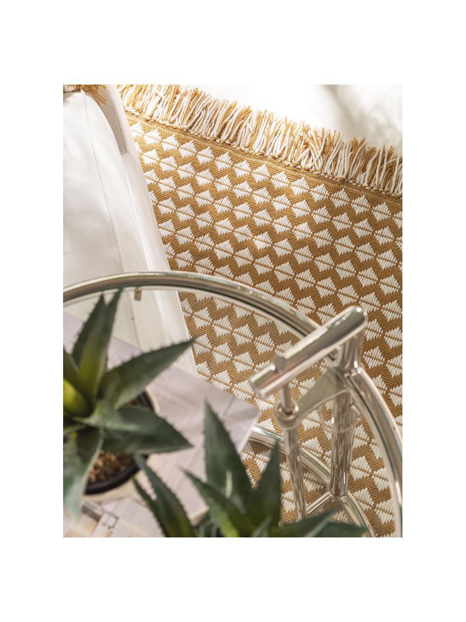 Dywan wewnętrzny/zewnętrzny z frędzlami w stylu etno Morty, 100% poliester (tworzywo PET z recyklingu), Żółty, złamana biel, S 80 x D 150 cm (Rozmiar XS)