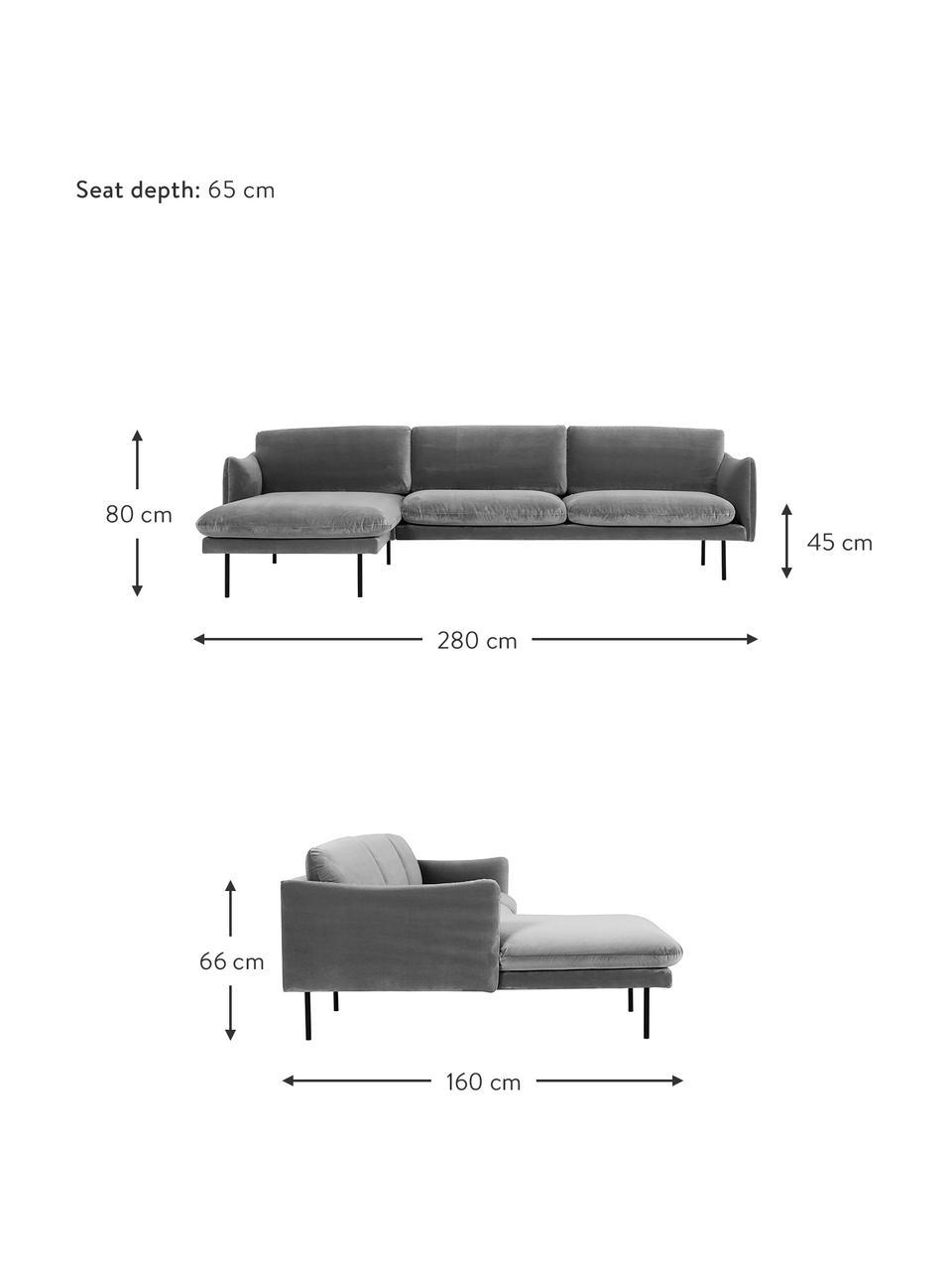 Sofa narożna z aksamitu z metalowymi nogami Moby, Tapicerka: aksamit (wysokiej jakości, Stelaż: lite drewno sosnowe, Nogi: metal malowany proszkowo, Aksamitny szary, S 280 x G 160 cm