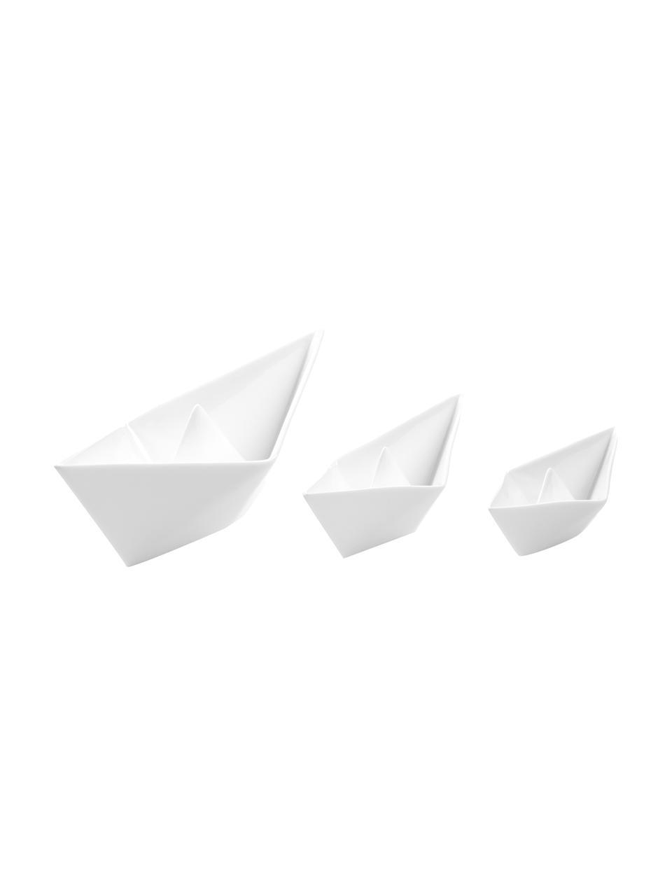 Decoratieve botenset My Boat, 3-delig, Porselein, Wit, Set met verschillende formaten
