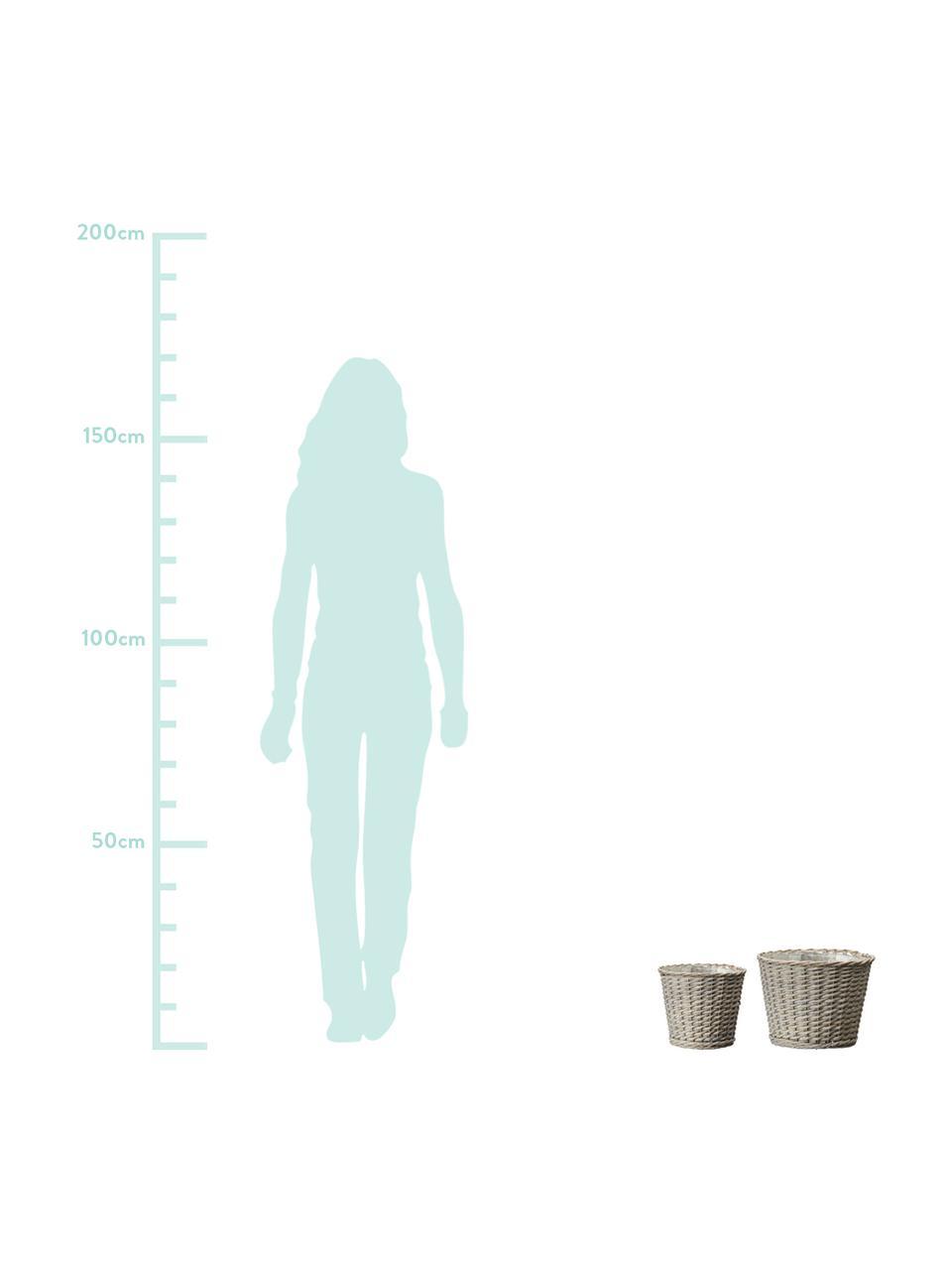 Kleines Pflanztopf-Set Minna mit Innenfolie, 2-tlg., Beige, Set mit verschiedenen Größen