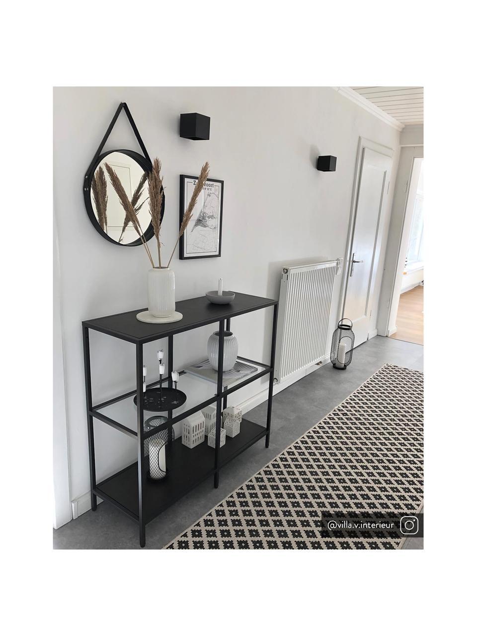 Applique nera Quad, Paralume: alluminio verniciato a po, Nero, Larg. 10 x Alt. 10 cm