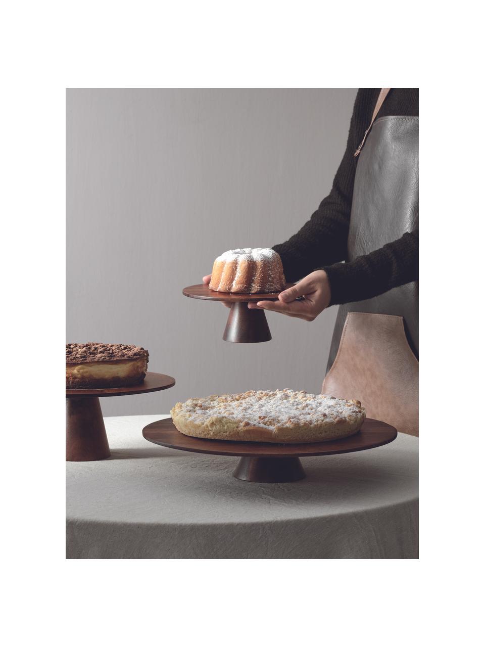 Plat à gâteau bois d'acacia Wood, Ø35cm, Brun foncé