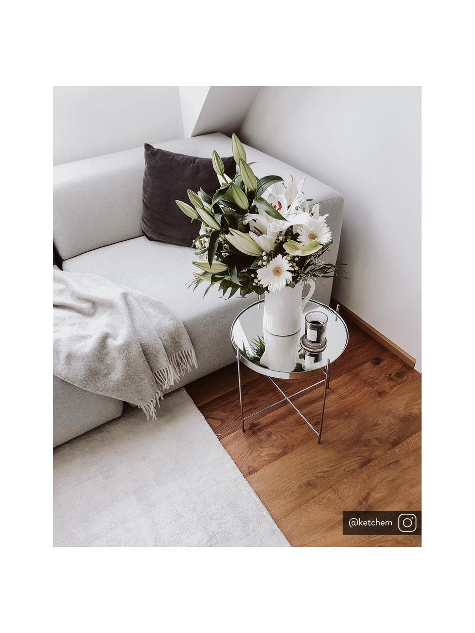 Stolik pomocniczy ze szklanym blatem Cupid, Stelaż: żelazo chromowane, Blat: szkło hartowane, Srebrny, Ø 43 x W 45 cm