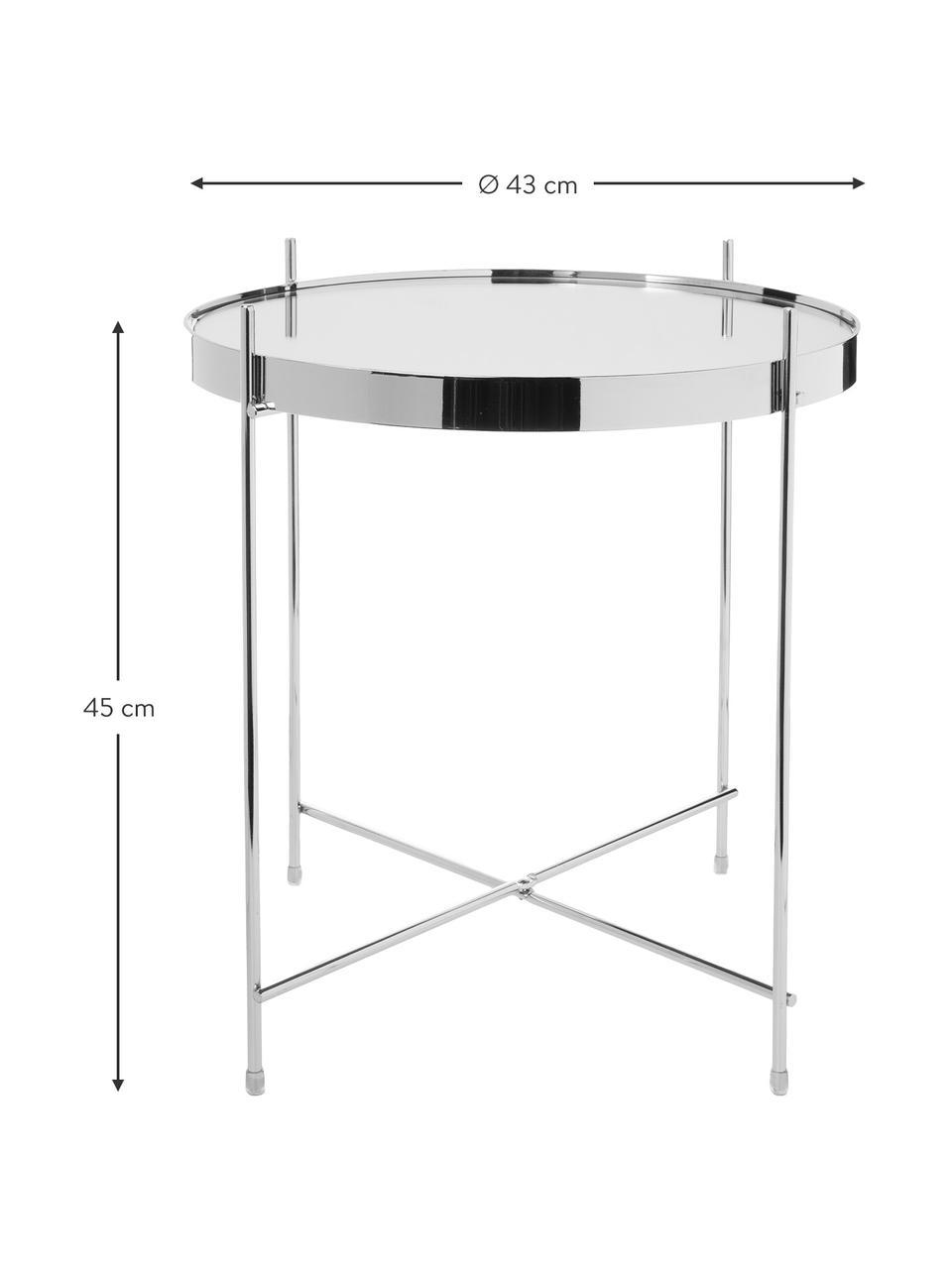 Tablett-Beistelltisch Cupid mit Glasplatte, Gestell: Eisen, verchromt, Tischplatte: Sicherheitsglas, Silber, Ø 43 x H 45 cm