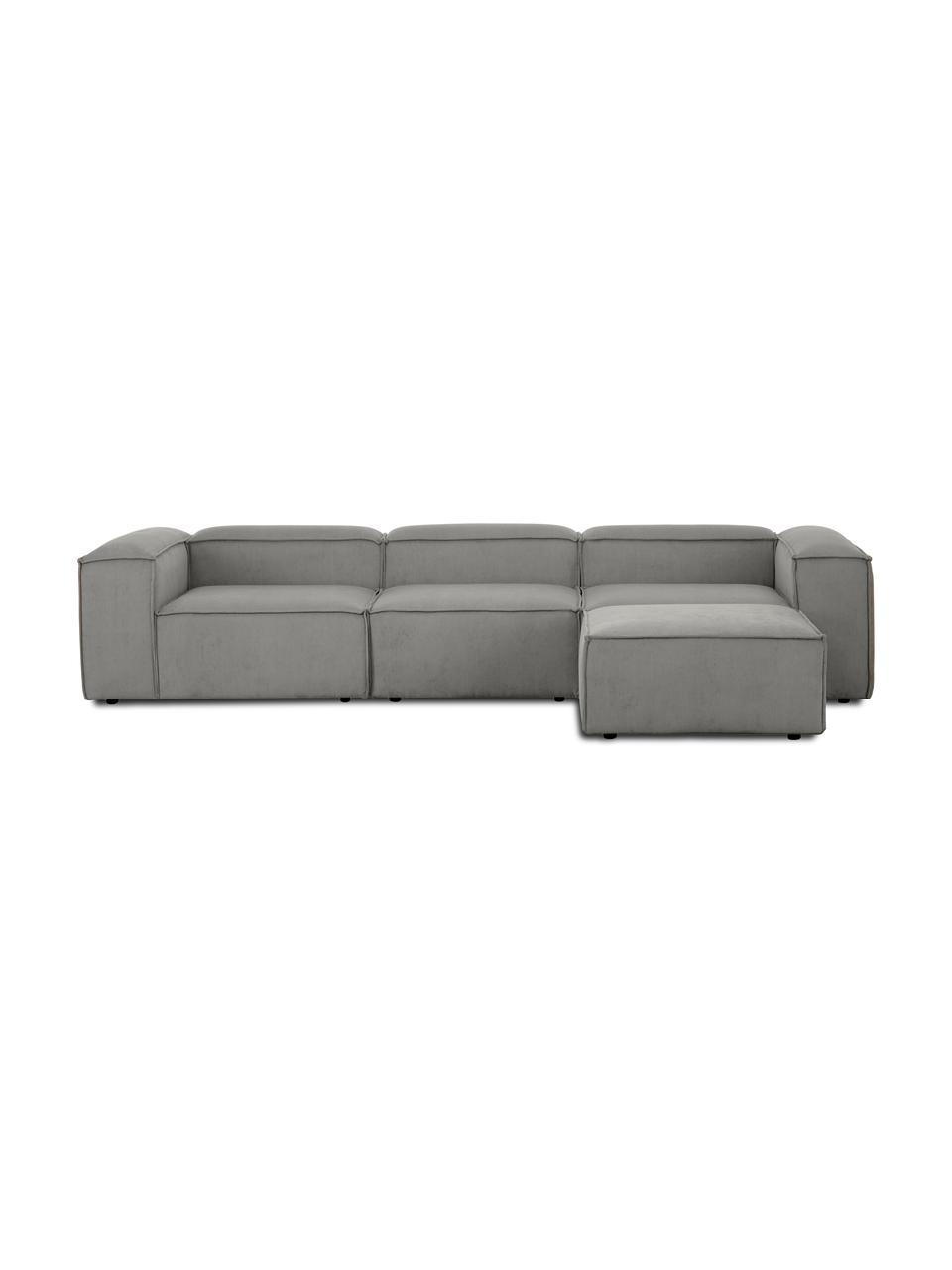 Narożna sofa modułowa ze sztruksu z pufem Lennon (4-osobowa), Tapicerka: sztruks (92% poliester, 8, Stelaż: lite drewno sosnowe, skle, Nogi: tworzywo sztuczne Nogi zn, Sztruksowy szary, S 327 x G 207 cm