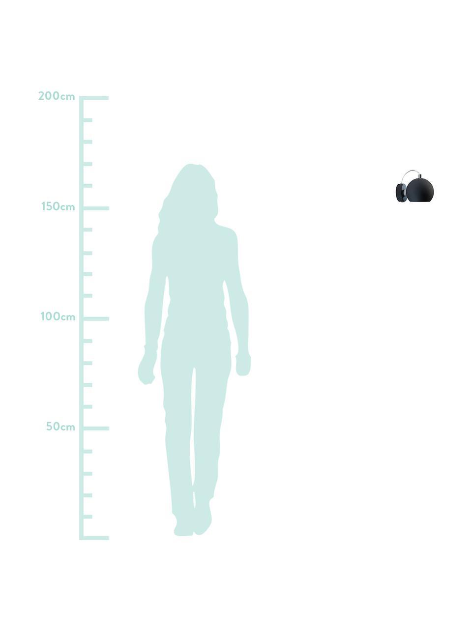 Applique con spina Ball, Paralume: metallo verniciato, Nero opaco, Larg. 12 x Alt. 12 cm