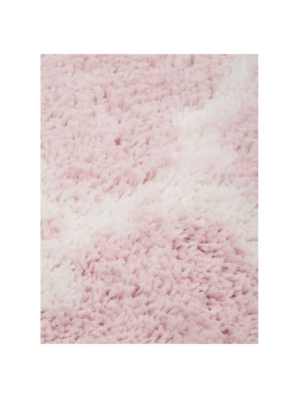 Runder Hochflor-Teppich Mona in Altrosa/Creme, Flor: 100% Polypropylen, Altrosa, Cremeweiß, Ø 150 cm (Größe M)