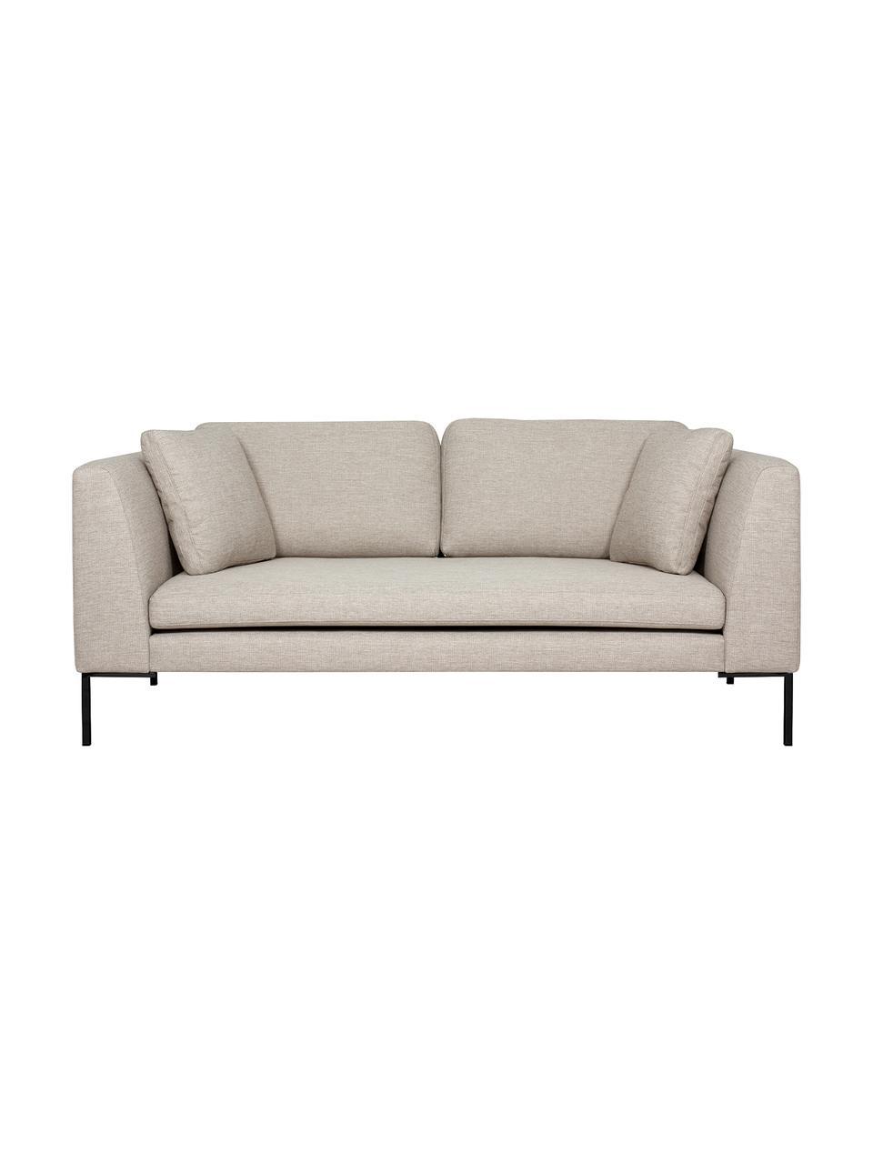 Sofa Emma (2-Sitzer) in Beige mit Metall-Füßen, Bezug: Polyester 100.000 Scheuer, Gestell: Massives Kiefernholz, Füße: Metall, pulverbeschichtet, Webstoff Beige, Füße Schwarz, B 194 x T 100 cm