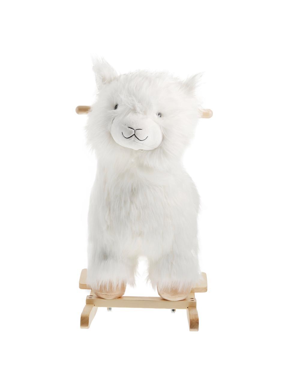 Schaukeltier Lama, Polyester, Pappelholz, Weiß, Braun, 65 x 70 cm
