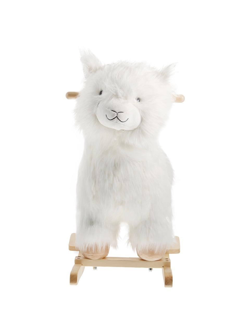 Zabawka na biegunach Lama, Poliester, drewno topoli, Biały, brązowy, S 65 x W 70 cm