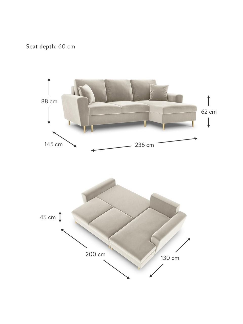 Sofa narożna z aksamitu z funkcją spania i miejscem do przechowywania Moghan (4-osobowa), Tapicerka: 100% aksamit poliestrowy , Nogi: metal powlekany, Beżowy, S 236 x G 145 cm