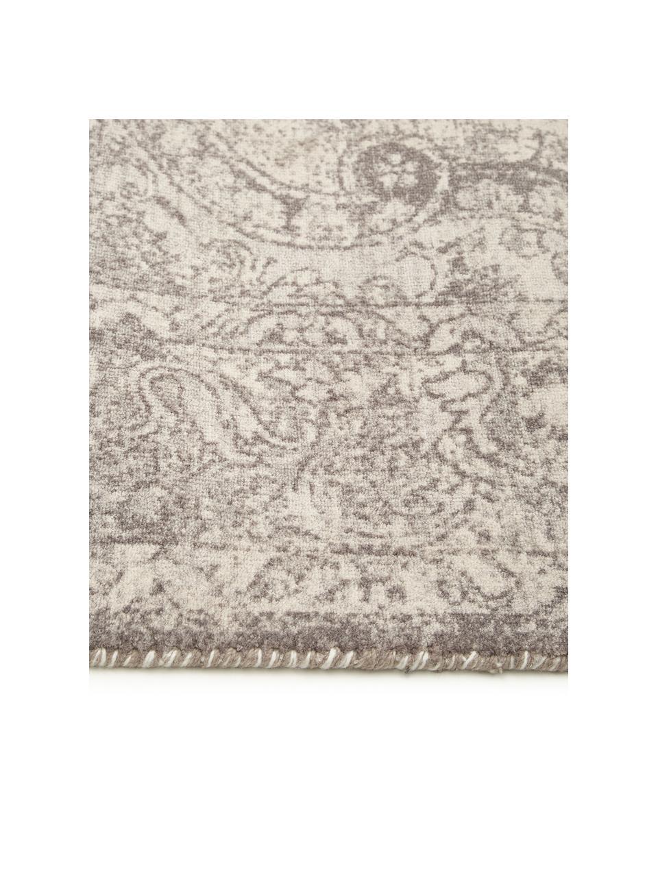 Vloerkleed Elegant in vintage stijl, Bovenzijde: 100% nylon, Onderzijde: 100% katoen, Grijs, B 80 x L 150 cm (maat XS)