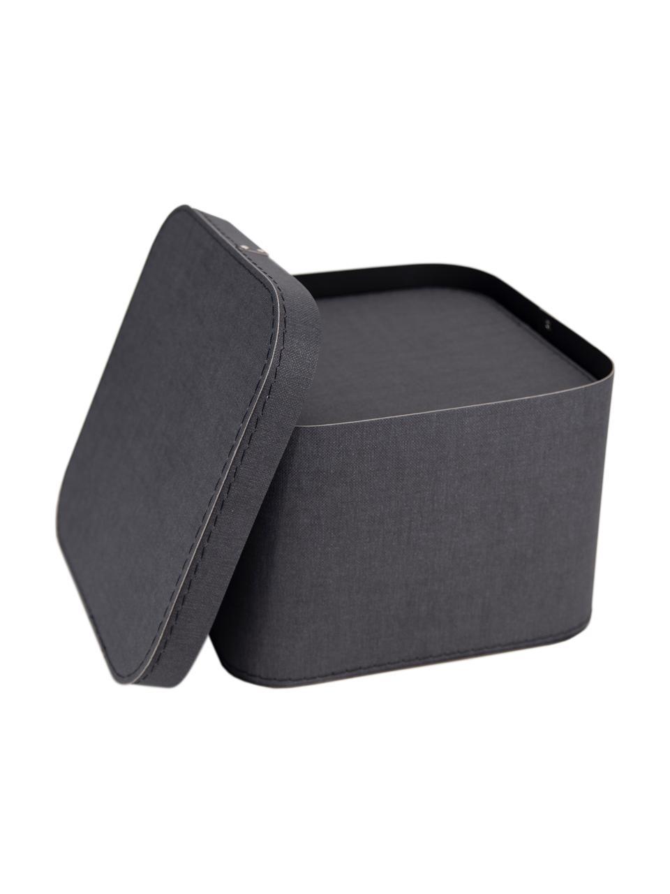 Set 2 scatole custodia Ludvig, Solido, cartone laminato, Antracite, Set in varie misure