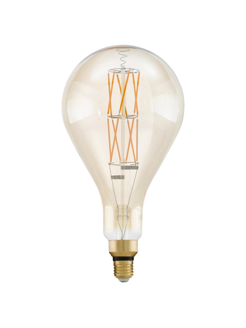 E27 XL-Leuchtmittel, 8W, dimmbar, warmweiß, 1 Stück, Leuchtmittelschirm: Glas, Leuchtmittelfassung: Aluminium, Transparent, Bernsteinfarben, Ø 16 x H 30 cm