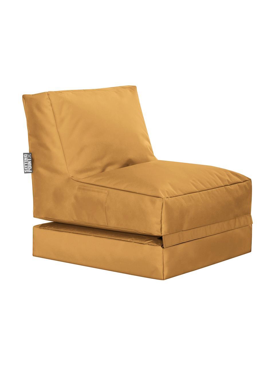 Garten-Loungesessel Pop Up mit Liegefunktion, Bezug: 100% Polyester Innenseite, Senfgelb, B 70 x T 90 cm