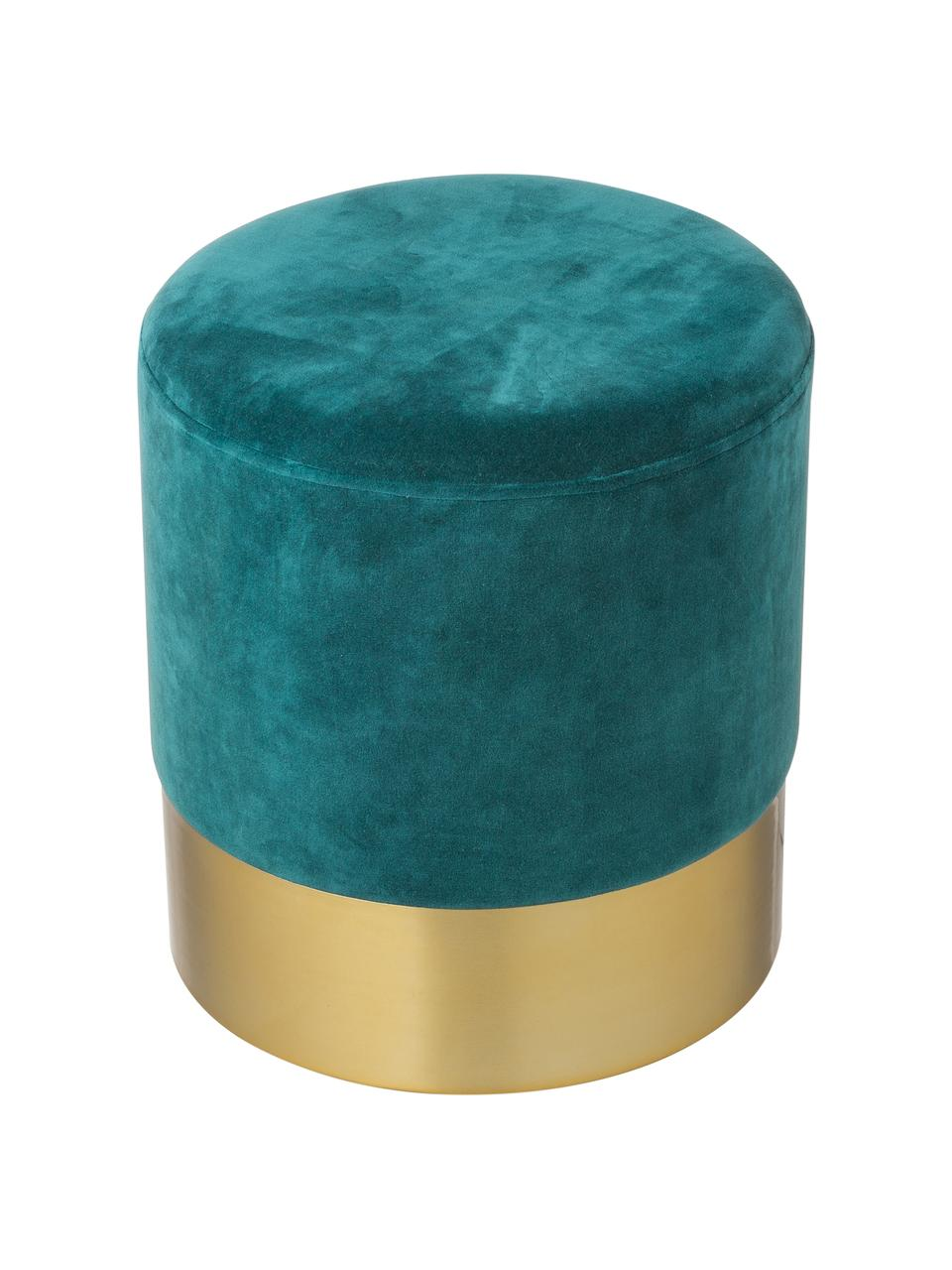 Samt-Hocker Harlow, Bezug: Baumwollsamt, Fuß: Eisen, pulverbeschichtet, Petrol, Goldfarben, Ø 38 x H 42 cm