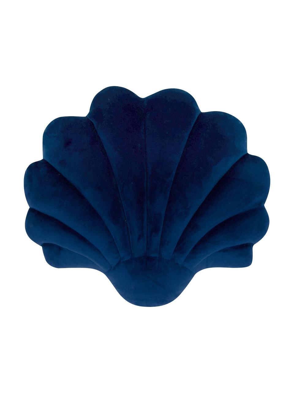 Poduszka z aksamitu Shell, Ciemny niebieski, S 28 x D 30 cm