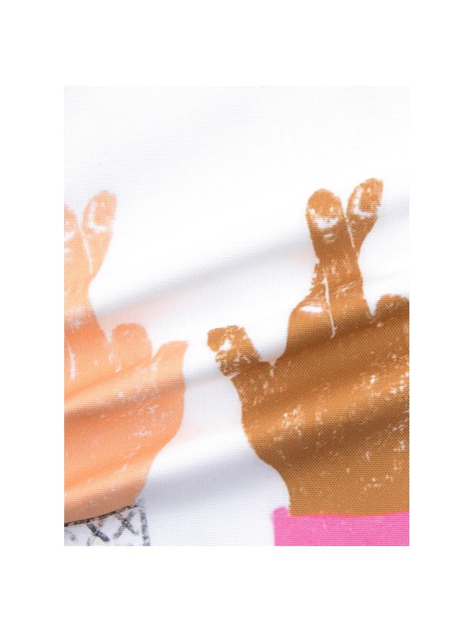 Designer Kissenhülle Hands von Kera Till, 100% Baumwolle, Weiß, Mehrfarbig, 40 x 40 cm