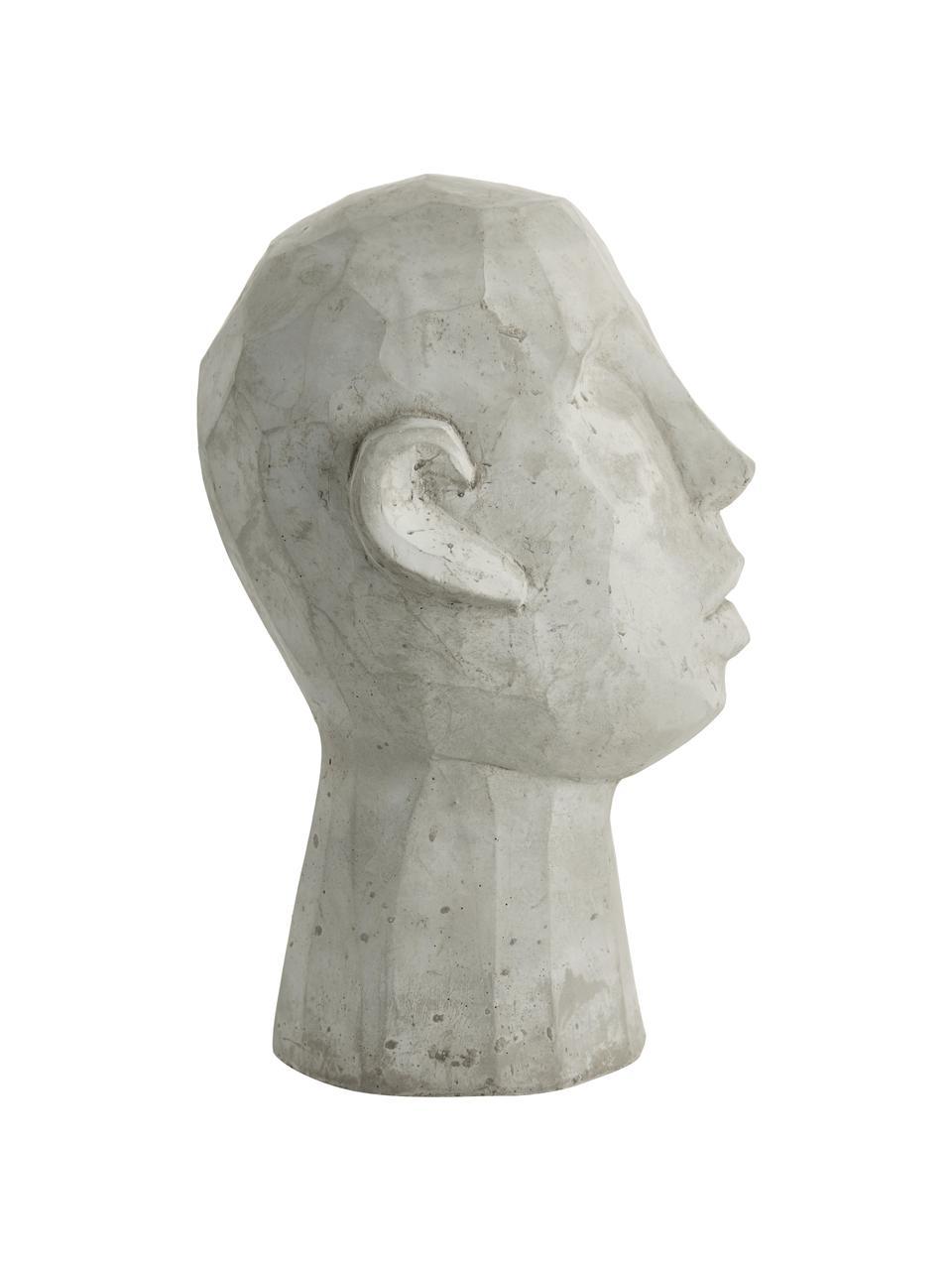 Decoratief object Head, Cement, Grijs, 20 x 30 cm