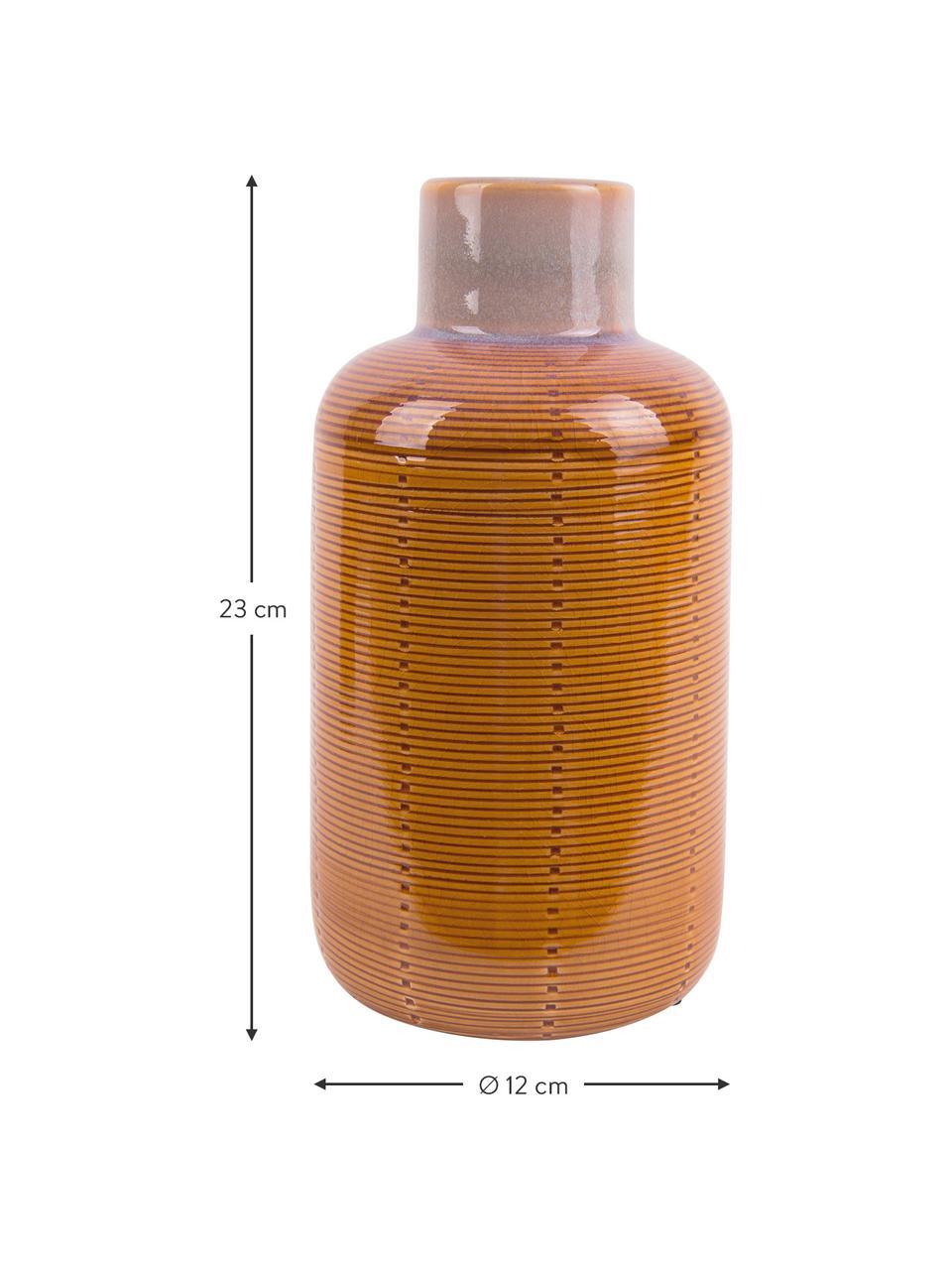 Vase Bottle aus Keramik, Keramik, Orange, Ø 12 x H 23 cm