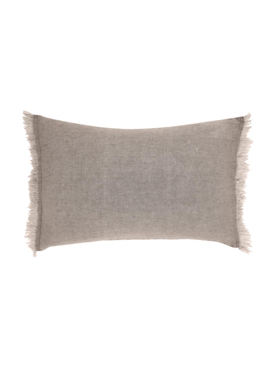 Leinen-Kissen Levelin mit Fransen, mit Inlett, Beige, 40 x 60 cm