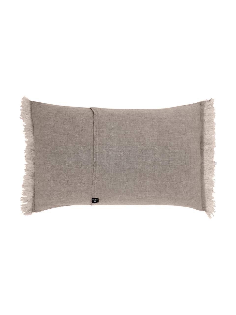 Federa arredo in lino con frange Levelin, Beige, Larg. 40 x Lung. 60 cm