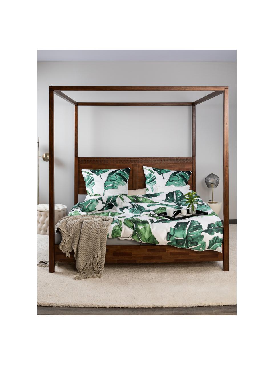 Pościel z satyny bawełnianej Lou, Biały, zielony, 135 x 200 cm + 1 poduszka 80 x 80 cm