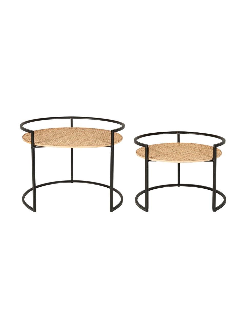 Set 2 tavolini con intreccio in rattan Elyot, Struttura: acciaio verniciato a polv, Marrone chiaro, nero, Set in varie misure