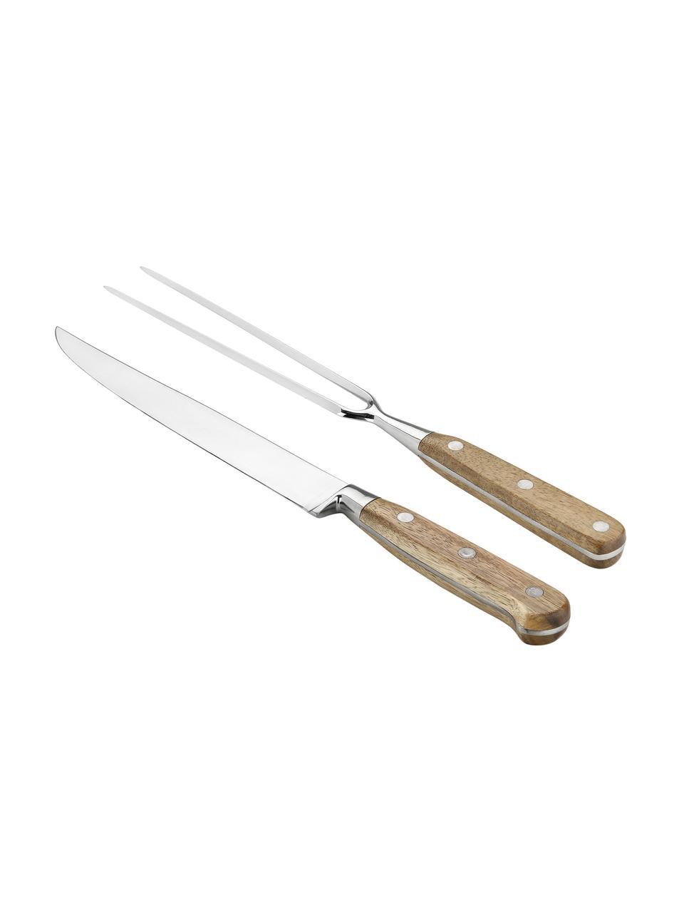 Accessoire de découpe argenté avec manche en bois Var, 2élém., Bois d'acacia, acier inoxydable