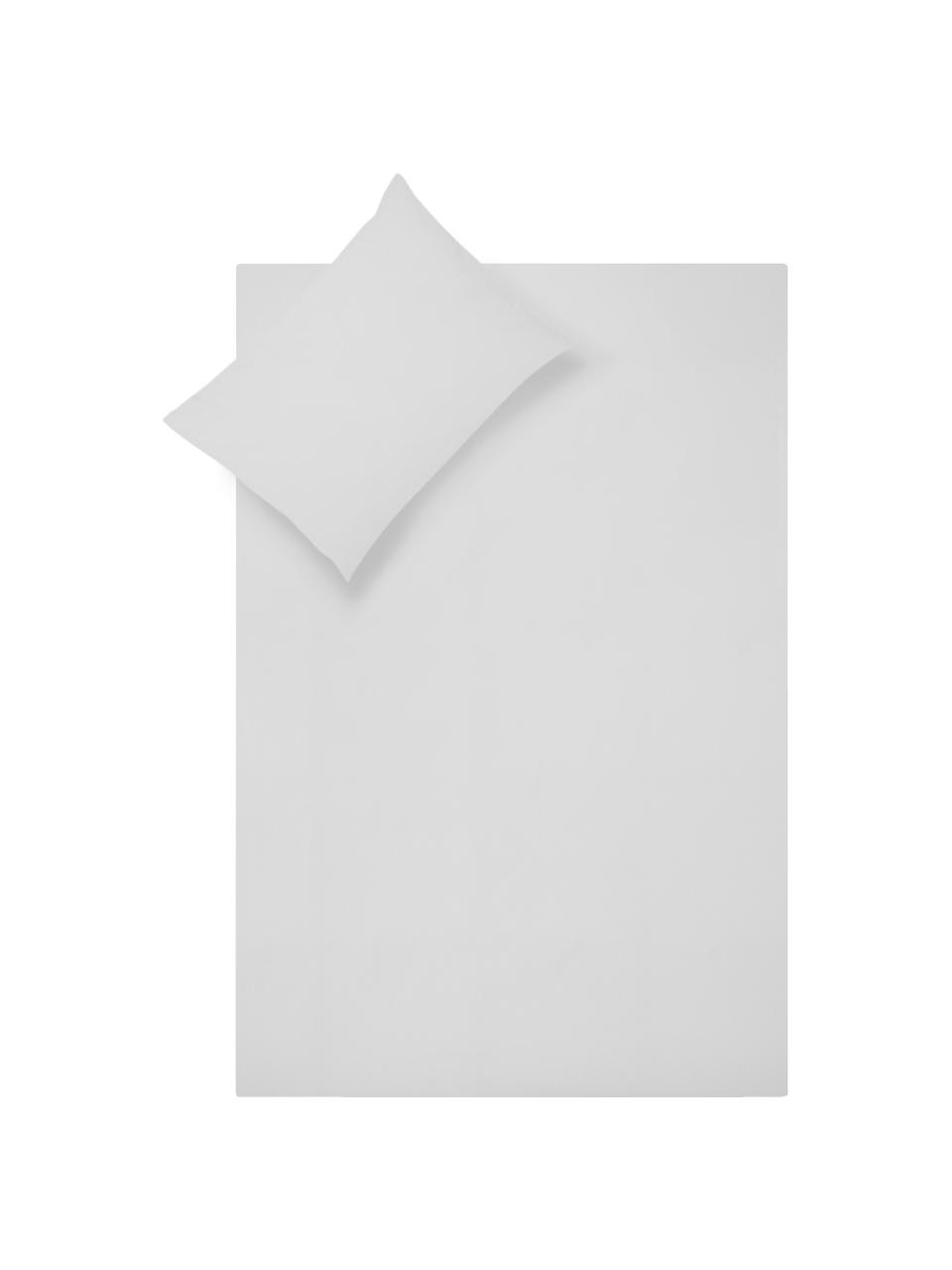 Set lenzuola in percalle grigio chiaro Elsie, Grigio chiaro, 240 x 300 cm + 2 cuscini 50 x 80 cm