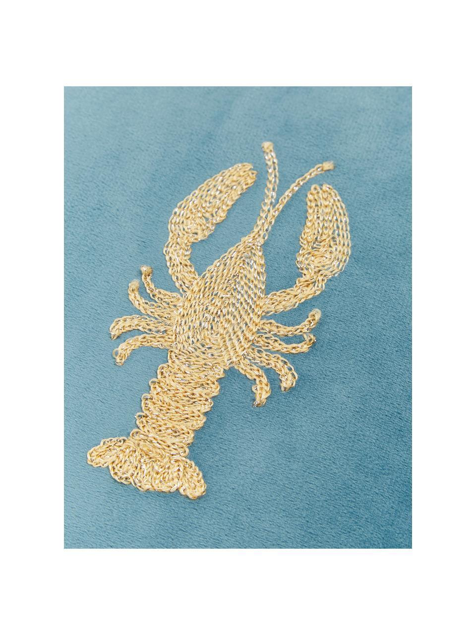Besticktes Samt-Kissen Lobster, mit Inlett, 100% Samt, Blau, Goldfarben, 45 x 45 cm