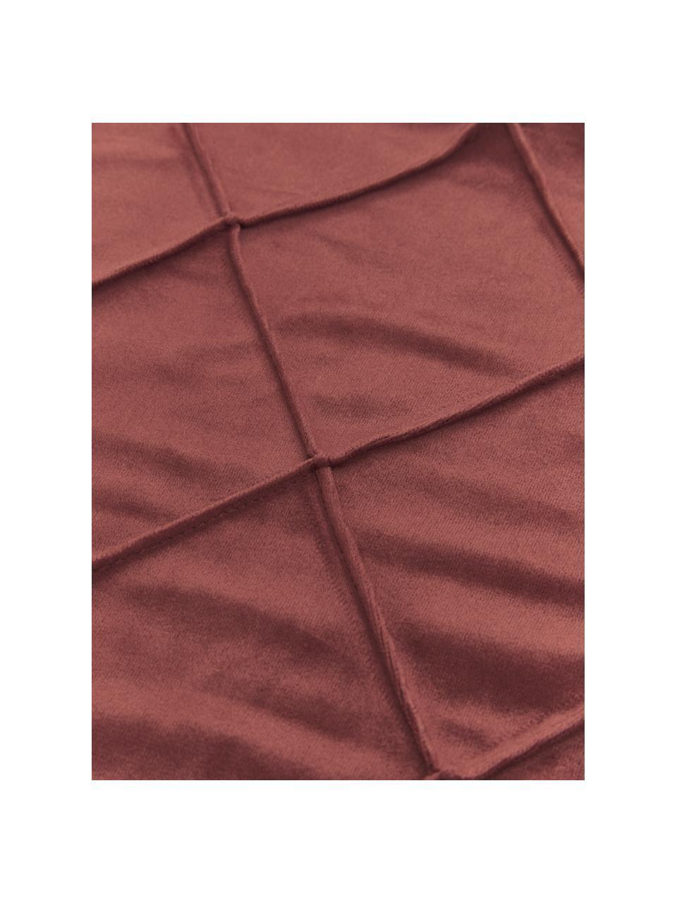 Fluwelen kussenhoes Nobless in terracottarood met verhoogd ruitjesmotief, 100% polyester fluweel, Terracottarood, 40 x 40 cm