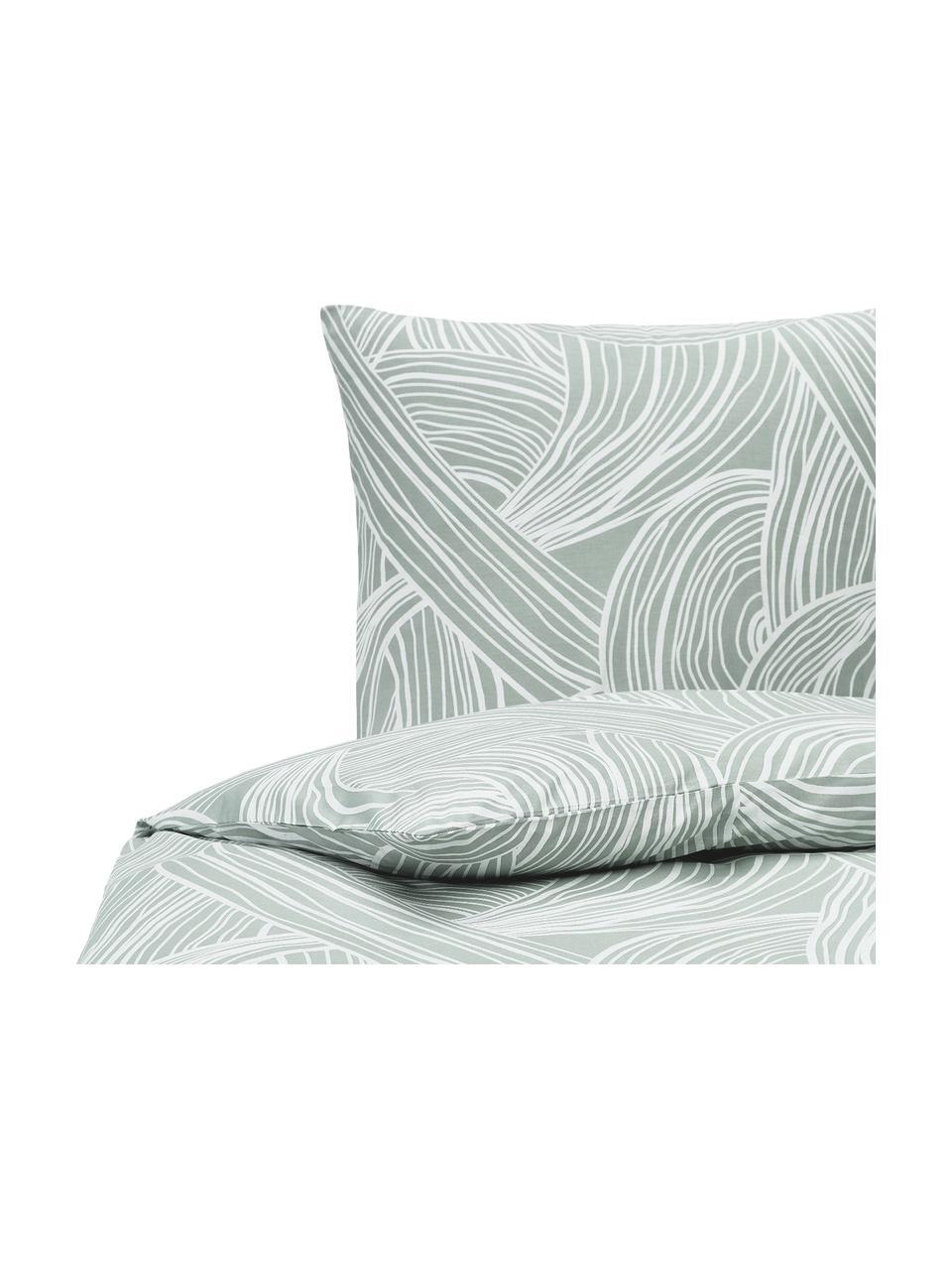 Gemusterte Baumwoll-Bettwäsche Korey, Webart: Renforcé Fadendichte 144 , Grün,Weiß, 135 x 200 cm + 1 Kissen 80 x 80 cm