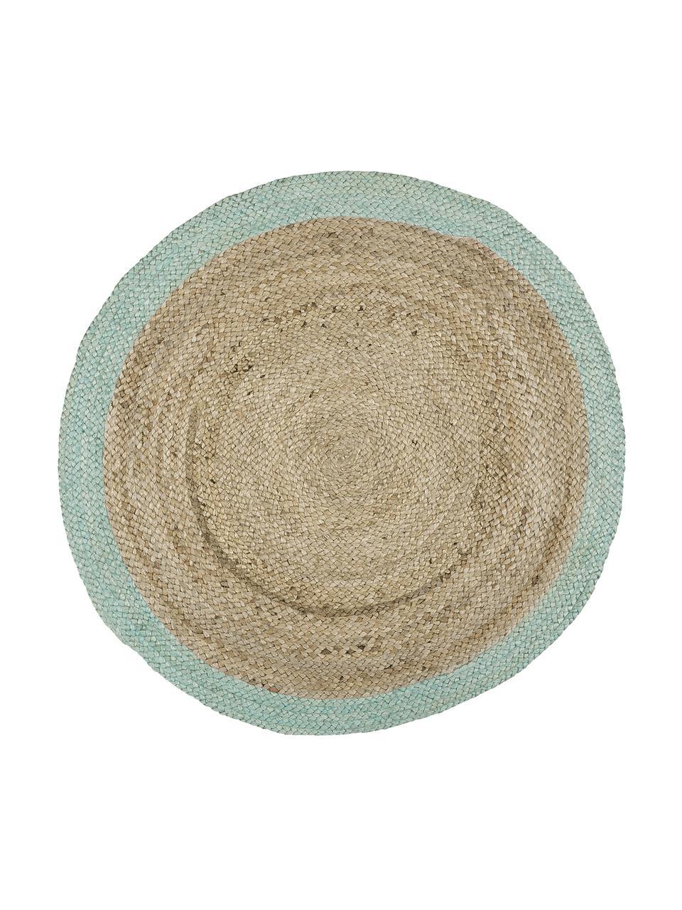 Runder Jute-Teppich Shanta mit mintgrünem Rand, handgefertigt, 100% Jute, Jute, Mintgrün, Ø 100 cm (Größe XS)