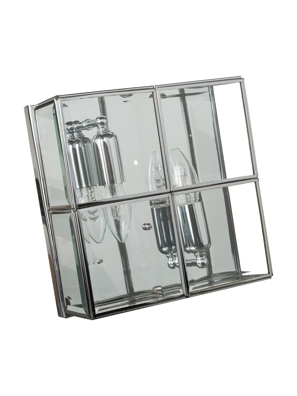 Plafoniera moderna in cromo Ben, Cromo, trasparente, Larg. 26 x Alt. 10 cm