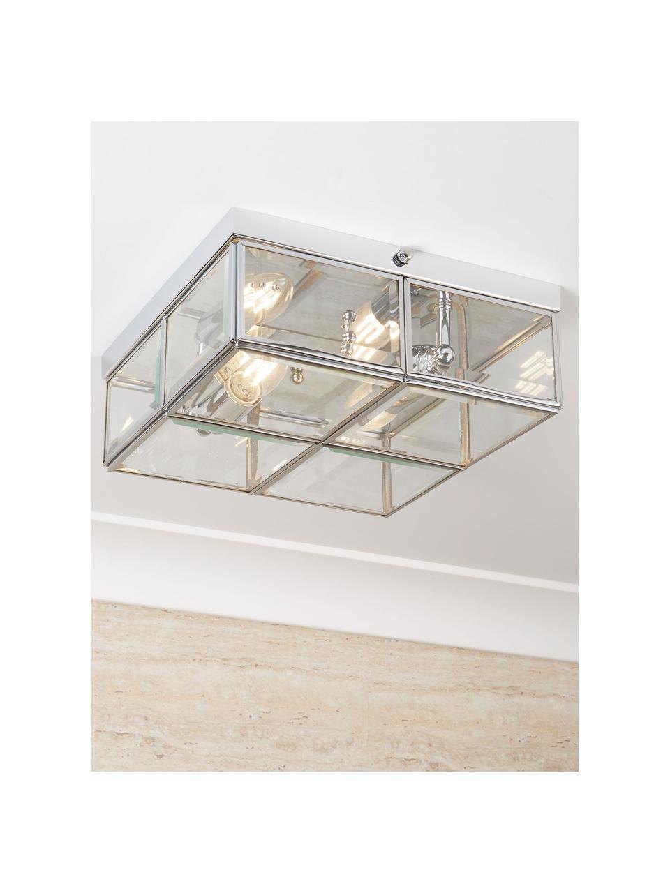 Kleine plafondlamp Ben in chroom, Lampenkap: glas, Chroomkleurig, transparant, 26 x 10 cm