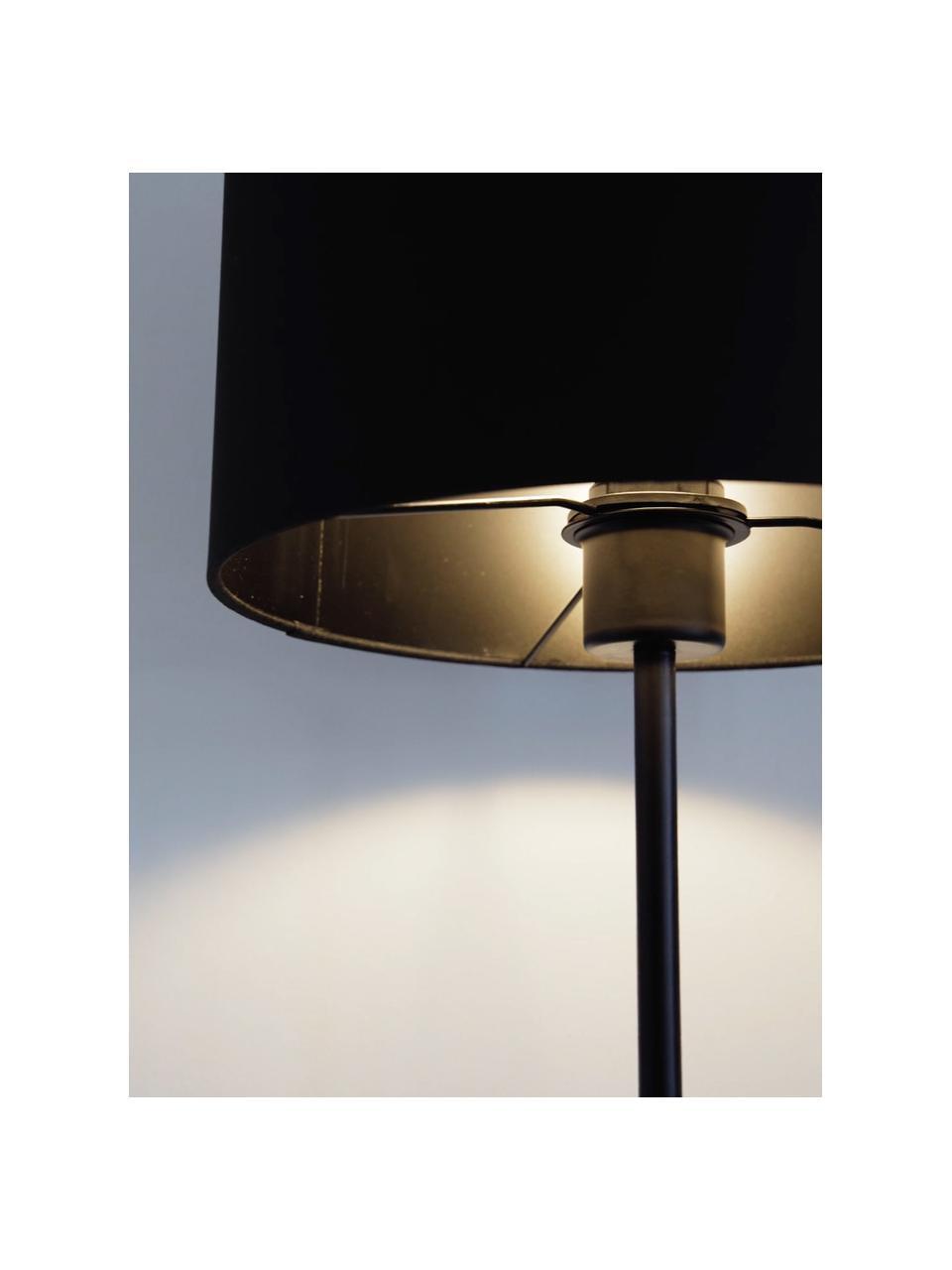 Vloerlamp Harry in zwart, Lampenkap: textiel, Lampvoet: gepoedercoat metaal, Zwart, Ø 28 x H 158 cm