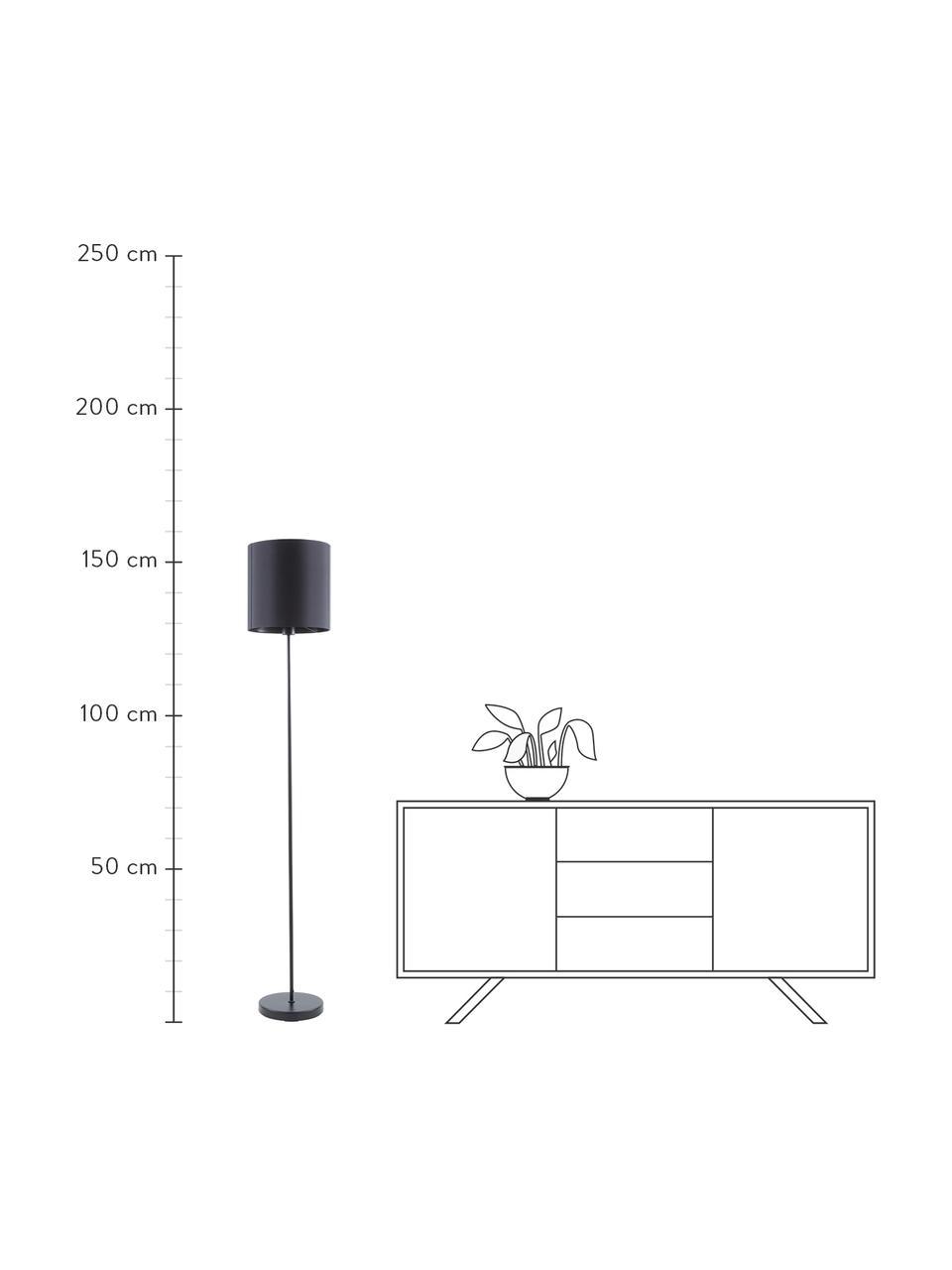 Vloerlamp Mick in zwart, Lampenkap: textiel, Lampvoet: gepoedercoat metaal, Zwart, Ø 28 x H 158 cm